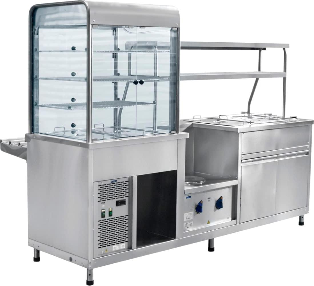Холодильный мармитный прилавок-витрина ABATПВХМ-70КМУ кашированный - 1