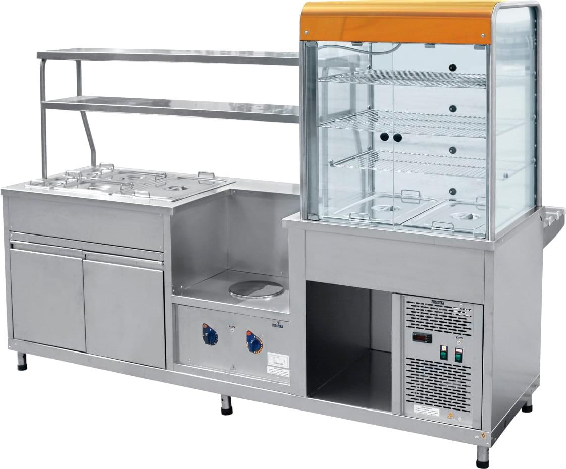 Холодильный мармитный прилавок-витрина ABATПВХМ-70КМУ красноезолото - 1