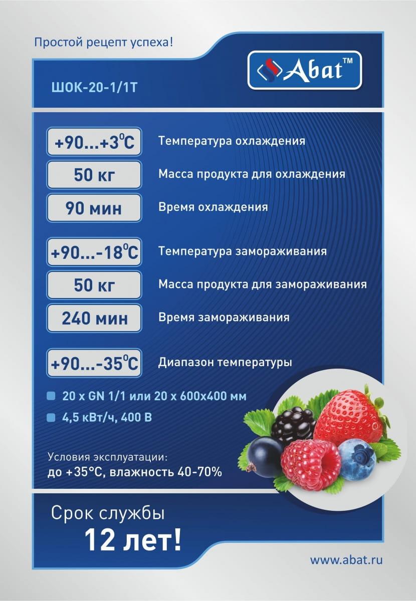 Шкаф шоковой заморозки ABAT ШОК-20-1/1Т - 2